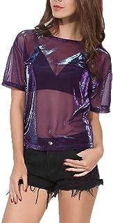 Women Holographic Mesh Top Tee Transparent Round Neck Short Sleeves T-Shirt,Purple