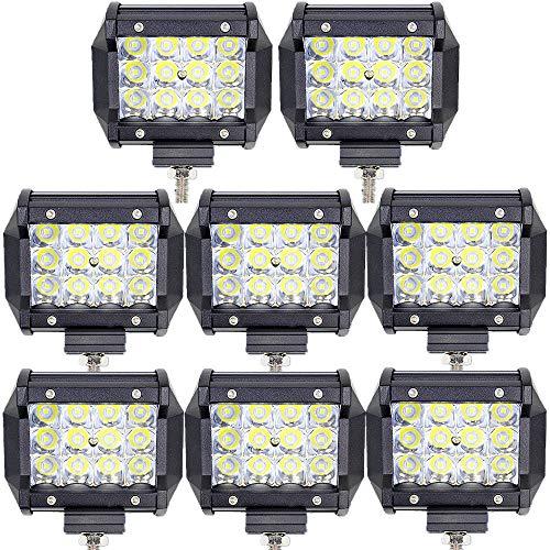 Leetop 8pcs 36W Projecteur Phare de Travail LED Barre de Travail étanche IP67 LED Feux Diurne Lumière Off Road Lampe Feu de Travail pour Camion 4x4 Tracteur