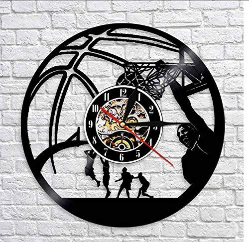 smyzll Basketball Spieler Slam Dunk Einhand Jam Clock Schallplatte Wanduhr Basketball Jump Slam Dunk Shot Sport Dekor Durchmesser: 30cm