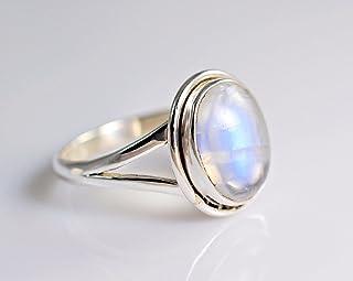 Anello in argento con pietra di luna arcobaleno, pietra di luna arcobaleno, anello in pietra di luna, argento sterling 925...