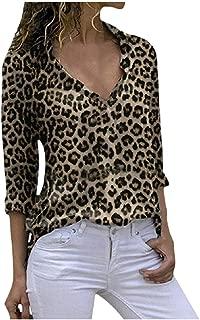 OULSEN Women Fashion Retro Leopard Print Blouse Button Lapel Long Sleeve Casual Shirt Loose Tunics Top Blouse