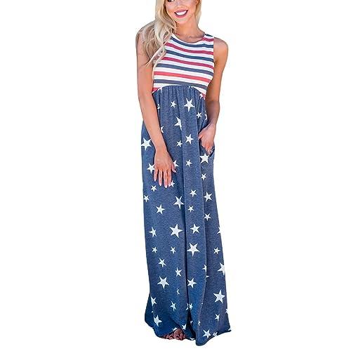 fa6eda22f5a Knight Horse Women s Vintage American Flag Print Patriotic Strapless  Sleevess Tank Maxi Dress