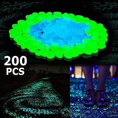 Boomile 200Pack Glow in the Dark Garden Pebbles for Walkways/ Outdoor Decor/ Aquarium/ Fish Tank, Outdoor Garden Decorative Stones in Blue & Green ATSC-520