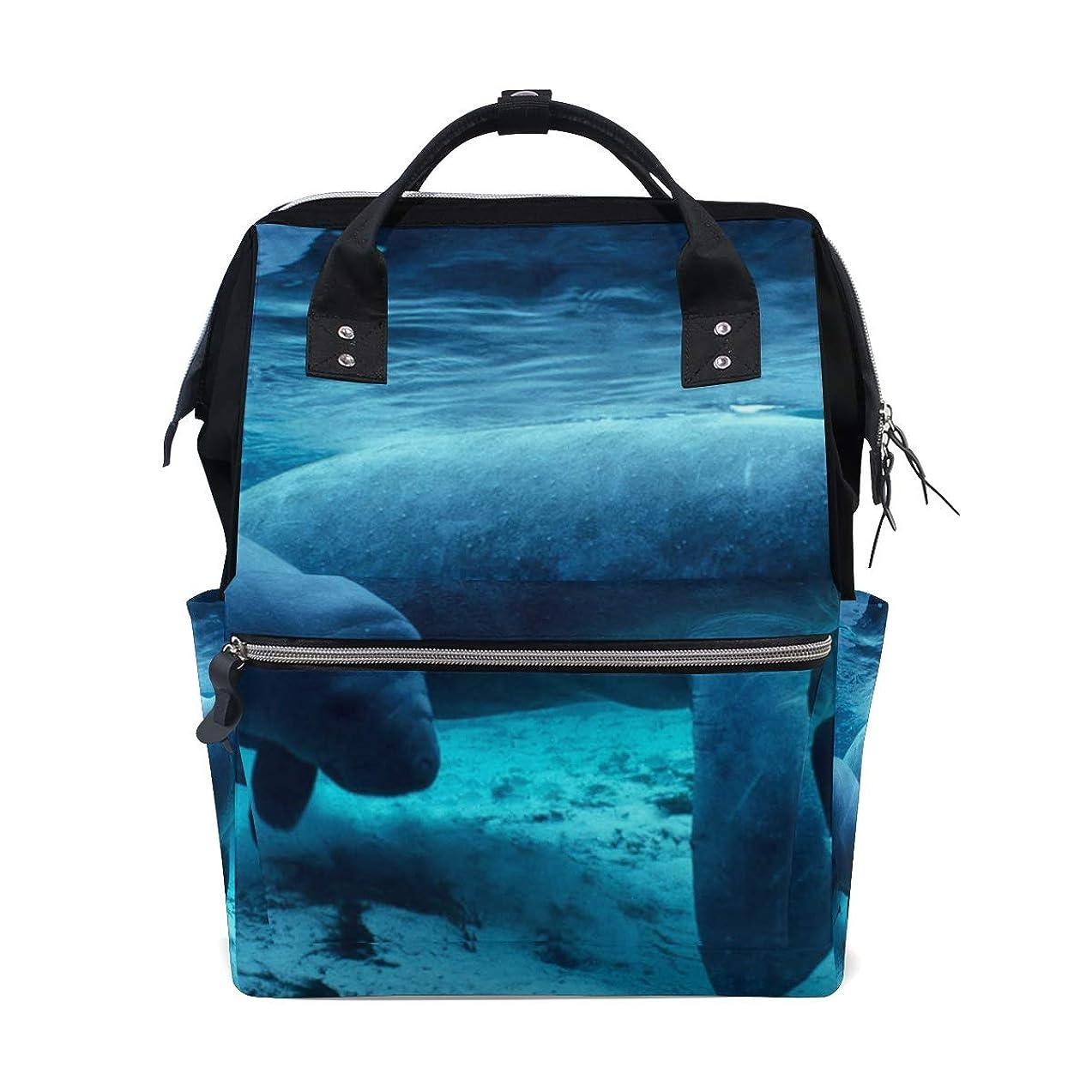 Manatee Sea Cow Blue School Backpack Large Capacity Mummy Bags Laptop Handbag Casual Travel Rucksack Satchel For Women Men Adult Teen Children