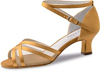 Anna Kern Zapatos de baile para mujer 610-50, color piel satinada, ancho normal, tacón de 5 cm