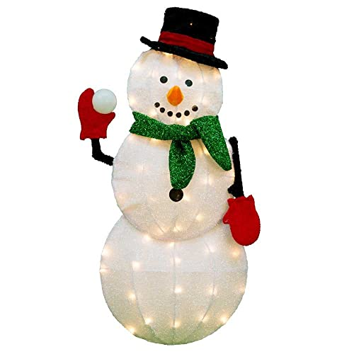 Product Works 32-Inch Pre-Lit Candy Cane Lane Snowman Christmas Yard Decoration Outdoor Decorations Lighted: Amazon.com