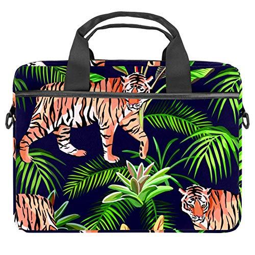 TIZORAX Laptoptasche Tiger und Pflanzen Notebooktasche mit Griff 38,1 - 39,1 cm Tragetasche Schultertasche Aktentasche