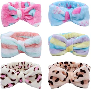 Bow Hair Bands for Women - 6 Pack Soft Carol Fleece Headband Hairlace Elastic Hair Band for Makeup Washing Face Shower Spa Mask