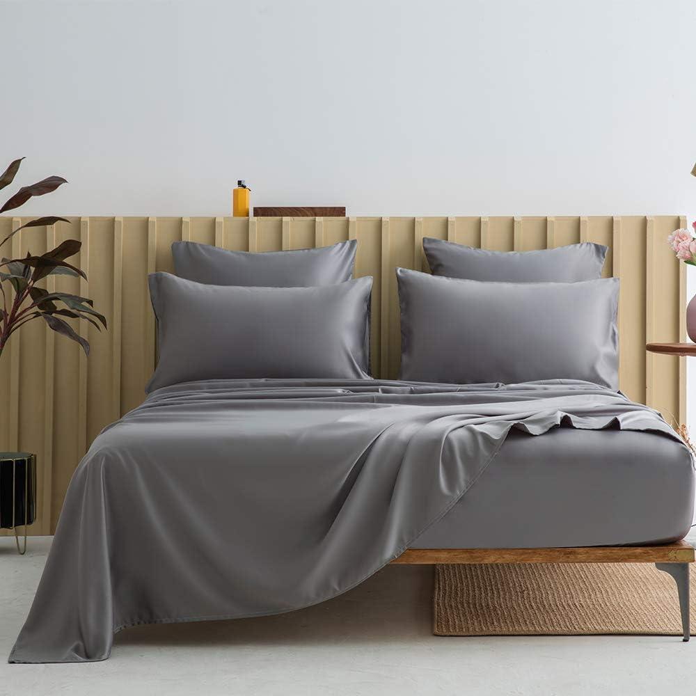 bienDo King Trust Silky Sheet Set Dark New mail order Deep Satin Sh Pocket Grey Bed