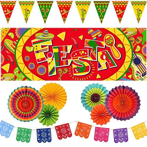 Juego de decoración de fiesta mexicana, pancarta de fiesta de México, banderas de empavesado mexicanas y ventiladores de papel colgantes para suministros o decoración de fiesta...