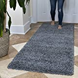 Ottomanson Soft Cozy Color Solid Shag Runner Rug Contemporary Hallway and Kitchen Shag Runner Rug, Grey, 2'7'L X 8'0'W