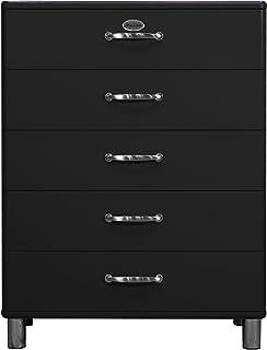 Tenzo Malibu Designer Commode avec 5 tiroirs, Panneaux de Particules & MDF, Noir, 86 x 41 x 111 cm