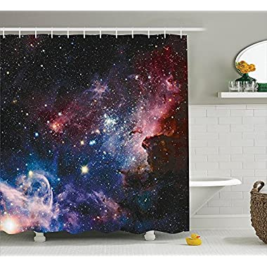 Ambesonne Space Decorations Collection, Stars Nebula, Colorful Explosive in Space Galaxy Astronomic Magical Picture Print, Polyester Fabric Bathroom Shower Curtain, 75 Inches Long, Navy Pink