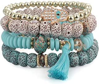 SINOBI 4 Wrap Women Boho Bracelets Multicolor Stretch...