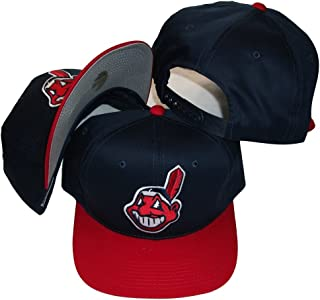 Cleveland Indians Two Tone Plastic Snapback Adjustable Plastic Snap Back Hat / Cap