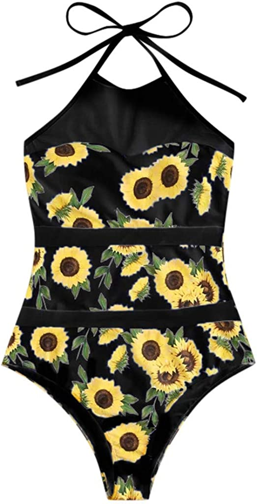 Sunflower Print One Piece Swimsuit Be super welcome Spring new work for Be 2020 Summer Women Mesh