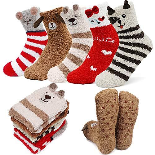 iZoeL Damen Kinder Kuschelsocken Haussocken Rutschfest Stoppersocken Wintersocken Kartoon Warme Socken 5 Paar