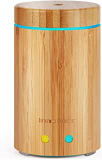 InnoGear Upgraded Real Bamboo Essential Oil Diffuser Ultrasonic Aroma Aromatherapy Diffusers Cool Mist Humidifier with Intermittent Continuous Mist 2 Working Modes Waterless Auto Off 7 Color LED Light