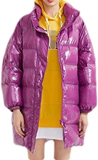 Macondoo Womens Casual Hooded Outwear Shiny Stand Collar Thicken Down Jackets Coat