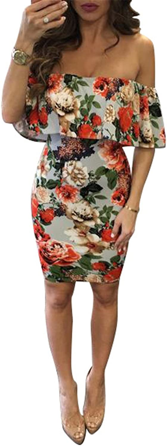 Women's Summer Off Shoulder Wrapped Ruffled Floral Print Party Club Midi Dress