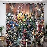 Elliot Dorothy Superhero Vengadores Iron Man Capitán América Thanos cortinas aisladas con ojales, cortinas opacas aislantes térmicas para dormitorio, sala de estar cocina W72 x L63