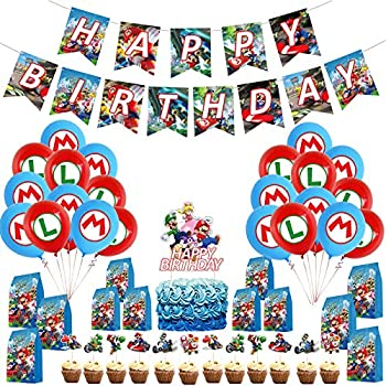 Super Mario Birthday Party Supplies Mario Kart Theme Party Supplies Includes Mario Bros Banner Cake Toppers Gift Bags Balloons for Mario Birthday Decorations