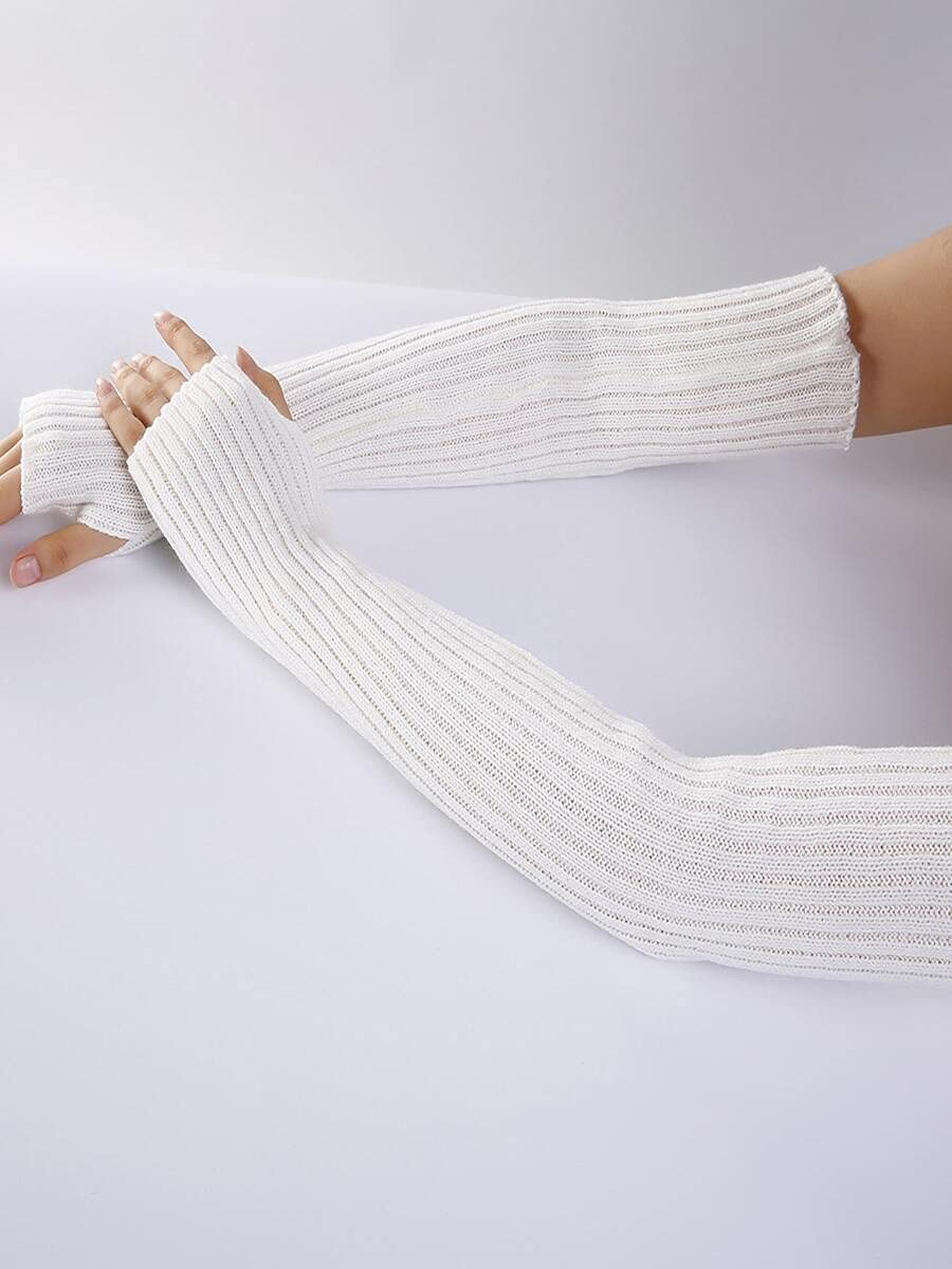 ZZTT Autumn and Winter Gloves Fingerless Long Gloves Warm and Comfortable Gloves for Men or Momen (Color : White, Size : One-Size)