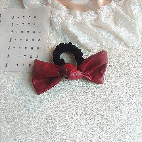 Women's solid color leather headband bow hair rope-Red