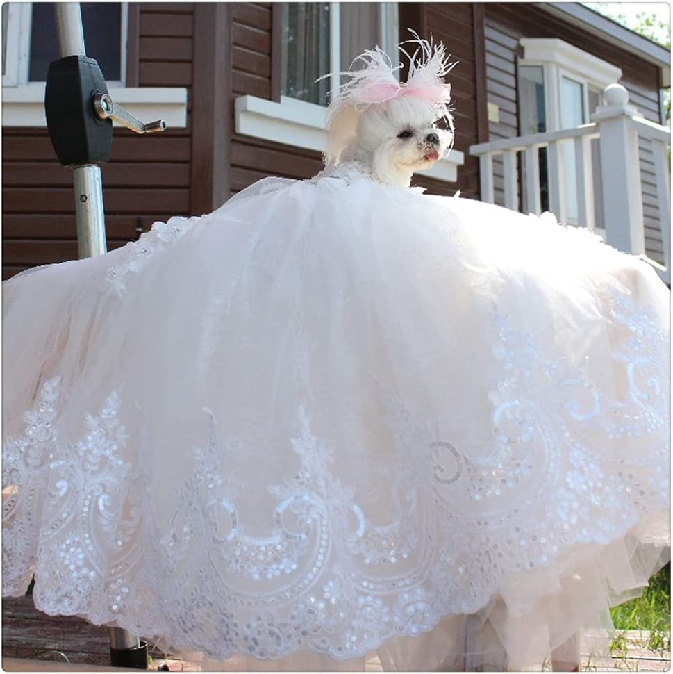 Many popular brands FEGOCLT Dog Clothes Pet Wedding Dress White Selling Exquisite Atmosp