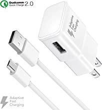 Ixir Adaptive Fast Charger Kit for Samsung Galaxy S7, Edge, J7, S6, Edge, Note 5, Note 4, Sony, HTC, Honor Lite 10, Moto G5, and More, Wall Charger and 4 Feet Micro-USB Cable, White