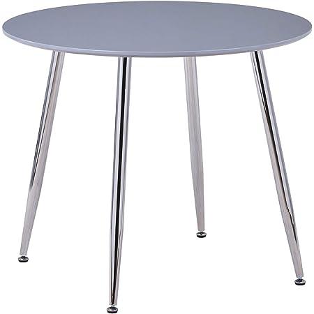 GOLDFAN Table Ronde Salle Manger Table Cuisine Salon Table à Manger Table en Bois avec Pieds en Métal Gris