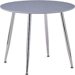 GOLDFAN Table à Manger en Bois Moderne Table Ronde Haute Brillance avec Pieds en Métal 80cm Table de Cuisine Salle à Mange...