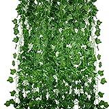 Huryfox Paquete de 12 Enredaderas Artificiales para Decorar el hogar, Plantas...