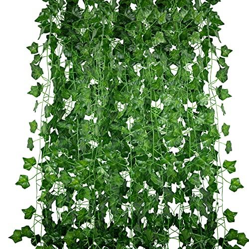 Huryfox Kunstpflanze für Zimmer Deko, Efeu Künstlich Girlande Aesthetic Künstliche Pflanzen Hängend für Wand Wohnzimmer Schlafzimmer Balkon Garten Party Hochzeit Innen Außen, 12 Stück