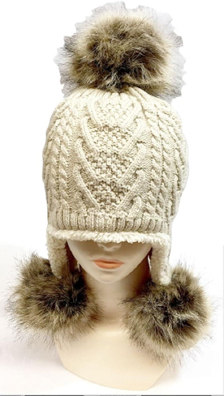 Aksesoryas Knit Beanie with Ear Cover and Pom Pom