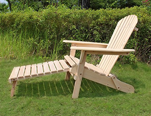 Merry Garden Foldable Wooden Adirondack Chair Kit with Pullout Ottoman, Outdoor, Garden, Lawn, Deck Chair, Unfinished