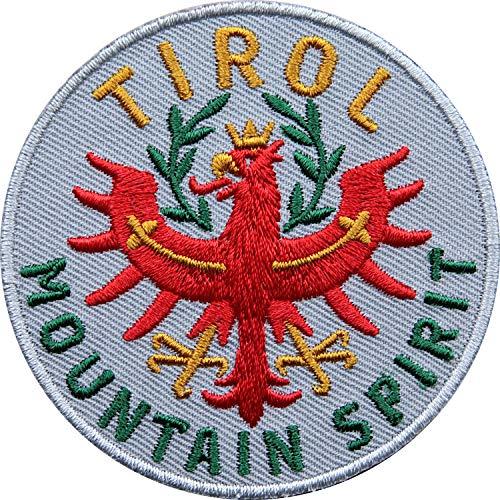 Club of Heroes 2 x Tirol Adler Patch 65 mm hochwertig gestickt/Aufbügler Aufnäher Flicken Bügelbild zum aufbügeln aufnähen/Österreich Tiroler Wappen Flagge Berge Wandern Reiseführer (Grau)