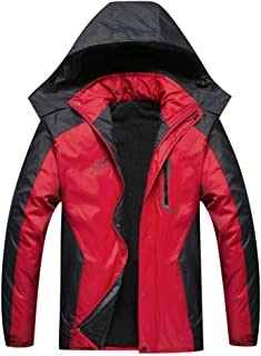 Men'sThicken Padded Winter Coat with Detachable Hood, Regular Fit Zipper Up Patchwork Design Puffer Jacket