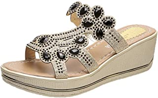 Summer Women Slippers Rhinestones Wedges Beach Indoor&Outdoor Shoes (Color : 7 Black, Size : 38)