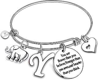 Nimteve Initial Charm Bracelet Elephant Charm Bracelet Gifts for Women Girls Inspirational Bangle 26 Letters Alphabet Brac...