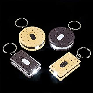 Kicko 1.75 Inch Cookie Keychain Flashlight - 12-Pack Assorted Shapes and Colors Sandwich Pocket-Sized Torch - LED Battery ...