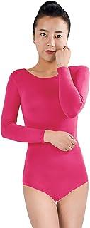 Shinningstar Girls' Women's Well-fit Spandex Lycra Long Sleeve Scoop Neckline Dancewear Unitard