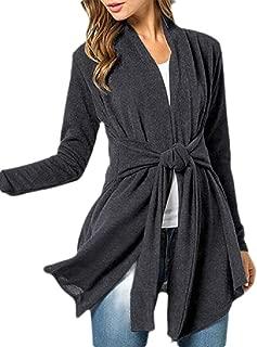 Women's Long Asymmetrical Hem Open Draped Belted Sweater Cardigan