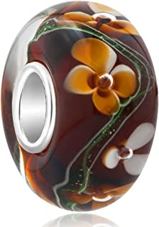 ReisJewelry Flower Murano Glass Beads Lampwork Spacer Charm with 925 Sterling Silver Core for Bracelets