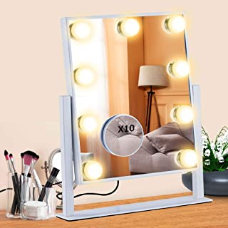 Hollywood Vanity Mirror,Anbage Vanity Mirror Led with Lights 9 Dimmable LED Bulbs for Dressing Room & Bedroom Tabletop or ...