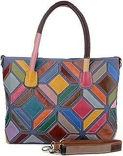 Fine Bag/Handbag Women's Colorful Stitching Bag Handbag Casual Shoulder Bag Fashion Messenger Bag Portable (Color : Multi-Colored, Size : One Size)