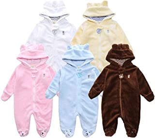 Sunbona Toddler Infant Baby Boys Autumn Winter Bear Hoodied Long Sleeve Romper Jumpsuit Pajamas Outfits