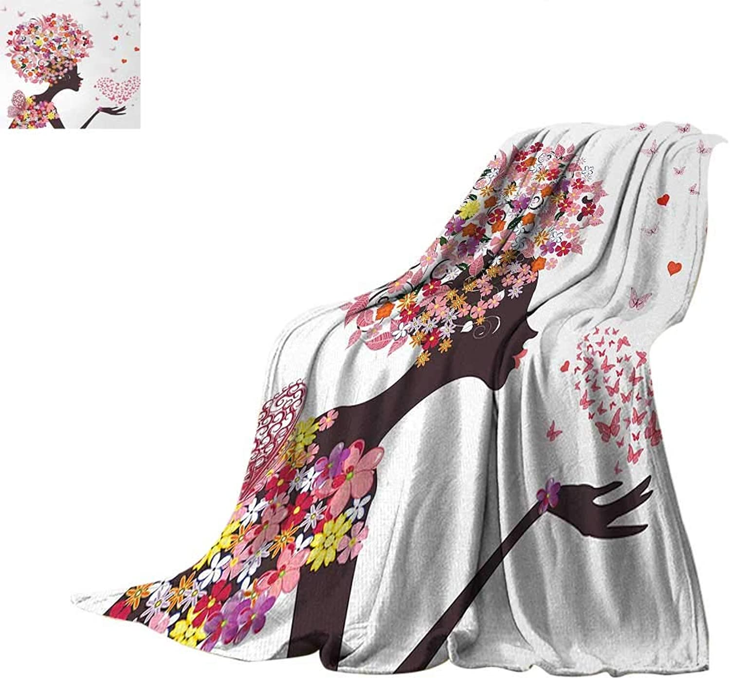 Butterflies Digital Printing Blanket Girl with a Heart of Butterflies Enjoying Blossoms Summertime Fantasy Happy Print Artwork Image 60 x50  Multicolor