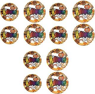 Amosfun カボチャ紙皿ハロウィンパーティー使い捨て皿紙トレイケーキデザートプレート(2サイズ)12ピース