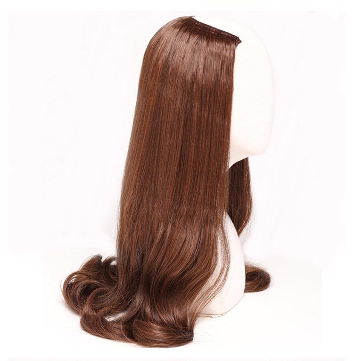 撤回するテストジュラシックパークJIANFU 女性のための半分のかつら人間の長いカーリーヘアU字型かつら合成高温ウィッグなしトレースと目に見えない髪220g (Color : ブラウン)